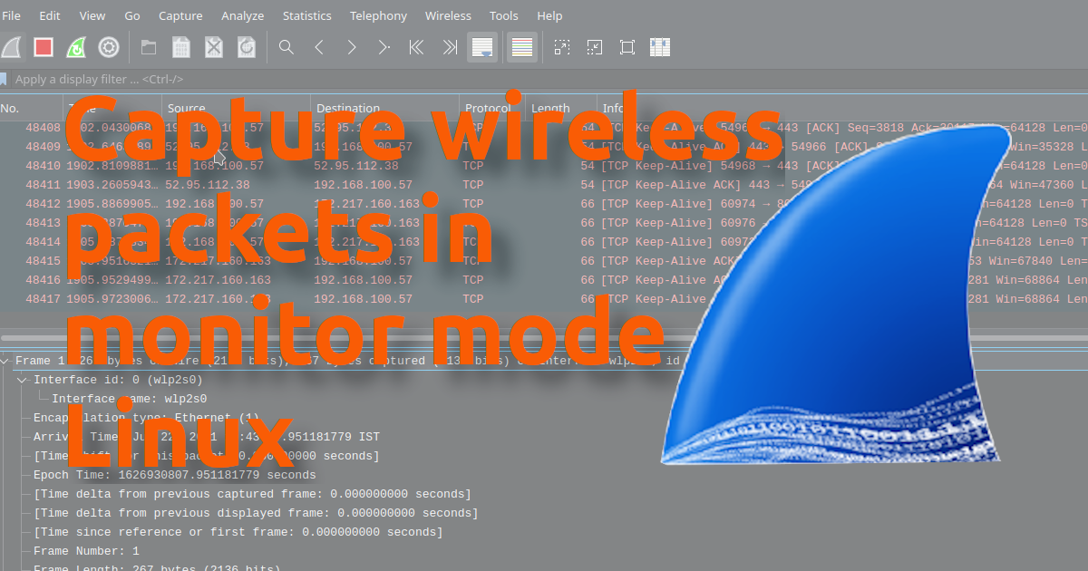 Capture wireless packets in minitor mode Linux